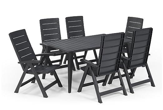 Keter - Set de mobiliario de jardín Lima/Brasilia (mesa + 6 sillas ...
