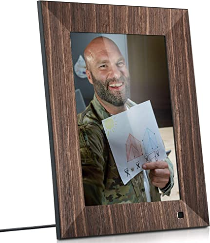 NIX Lux 10 Inch Digital Picture Frame With Real Wood Finish – HD Display, Auto-rotate, Motion Sensor and USB SD Card Supported