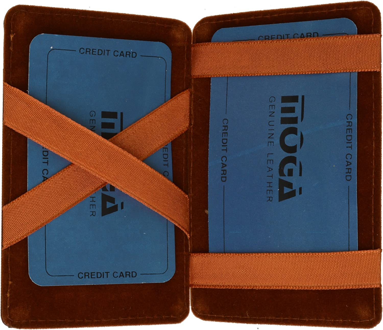 Genuine Leather Men/'s Magic Slim Bifold Minimalist Thin Fashion Wallet Moga
