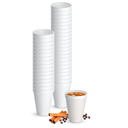 7d891f5befc Amazon.com  12 Oz. White Disposable Drink Foam Cups Hot and Cold Coffee Cup  (Pack of 48)  Kitchen   Dining