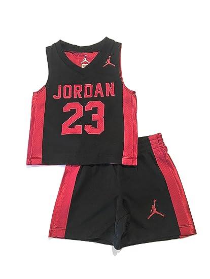 8d51efe6888e8 Nike Jordan Modern Retro Infant Boys Tank Top and Shorts Set Black 12  Months  Amazon.co.uk  Clothing