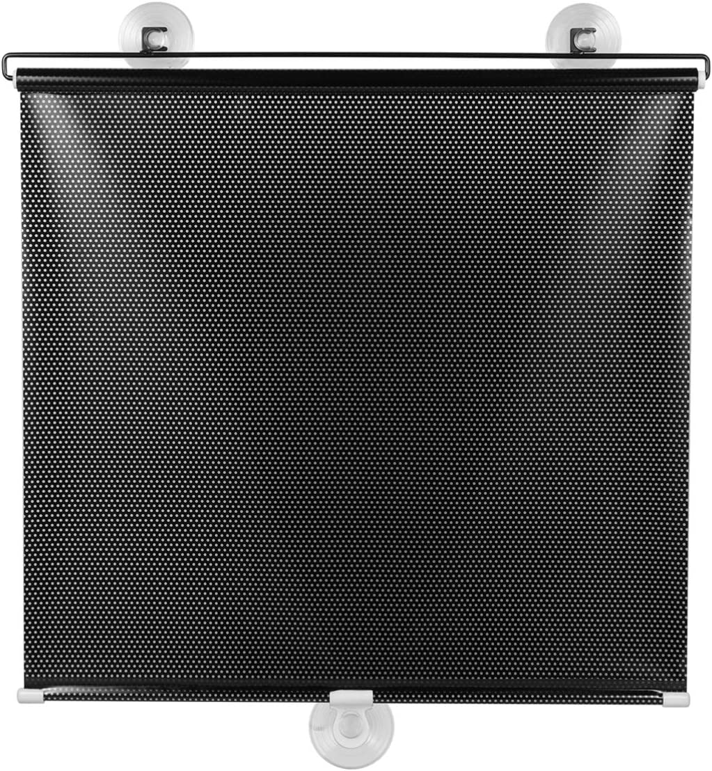 BESPORTBLE Home Window Sunshade Balcony Suction Cup Sunshade Blackout Curtain Temporary Blinds Anywhere Portable Lightweight Drape for Door (Black Mesh Dot)