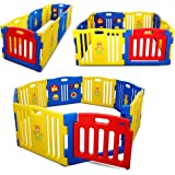 Kidzone Interactive Baby Playpen 8 Panel Safety Gate Children Play Center Home Child Activity Pen ASTM Certified (Blue- Yello