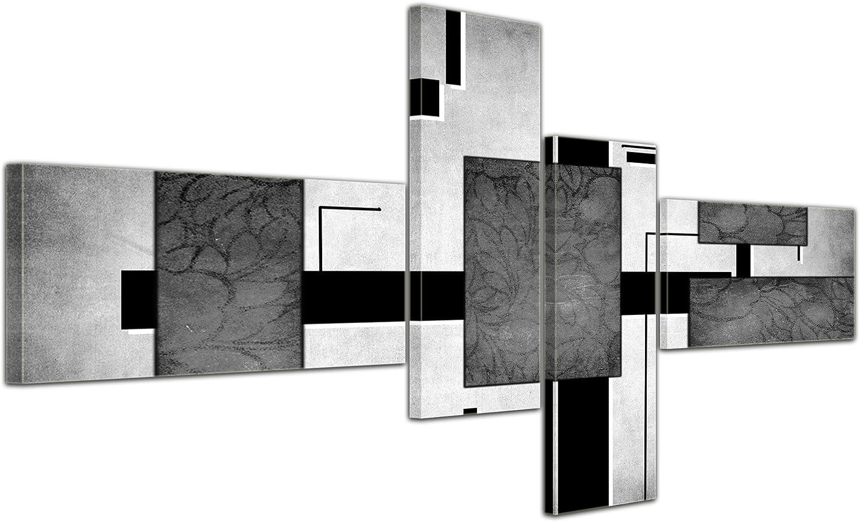 Cuadros en Lienzo - Arte abstracto Abstracto IV rojo - 200x90cm 4 partes - Listo tensa. Made in Germany!!!: Amazon.es: Hogar