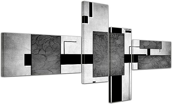 Bilderdepot24 Cuadros en Lienzo - Arte Abstracto Abstracto IV Gris - 200x90cm 4 Partes - Listo tensa. Made in Germany!!!: Amazon.es: Hogar