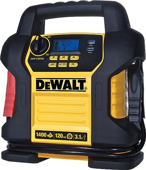DEWALT DXAEJ14 Power Station Jump Starter: 1400 Peak/700 Instant Amps, 120  PSI Digital Air Compressor, 3 1A USB Ports, and Battery Clamps