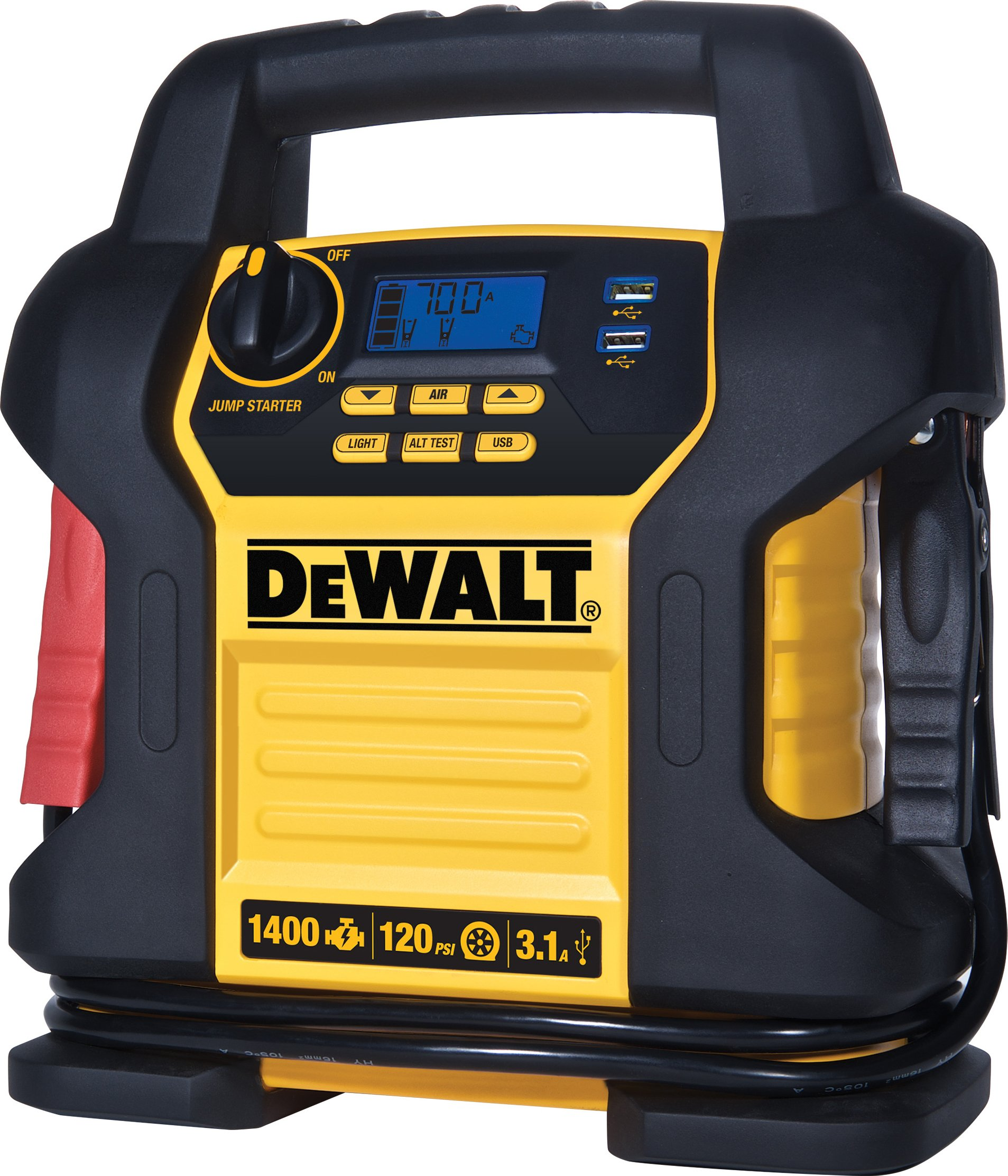 DEWALT DXAEJ14 Power Station Jump Starter: 1400 Peak/700 Instant Amps, 120 PSI Digital Air Compressor,