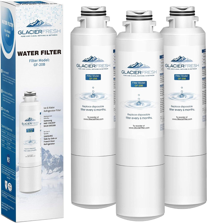Samsung Refrigerator Water Filter Replacement DA29-00020B HAF-CIN/EXP For French Door Fridge Kitchen By GLACIER FRESH (3 PACK)