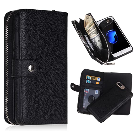 free shipping ce1a5 c36ba iPhone 5/5s/SE Wallet Case, Magnetic Detachable Removable Wallet Zipper PU  Leather Case with Strap and Credit Card Slot for iPhone 5/5s/5E (Black)