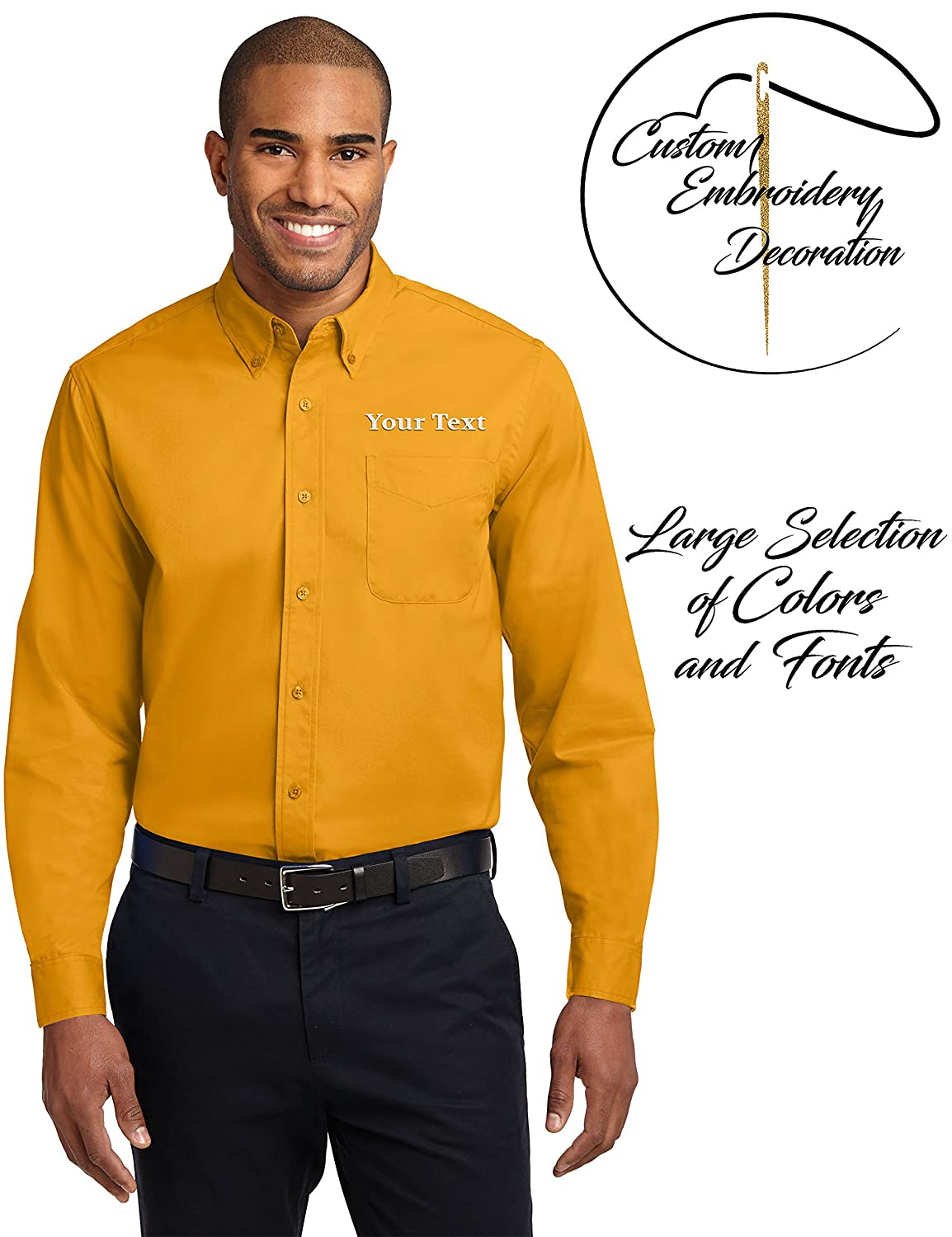 Custom Embroidered Casual Button Downs Long Sleeve Embroidery
