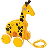 BRIO 30200 Infant & Toddler - Pull Along Giraffe Wood Baby Toy with Bobbing Head for Kids Ages 1 and up, Yellow/Brown