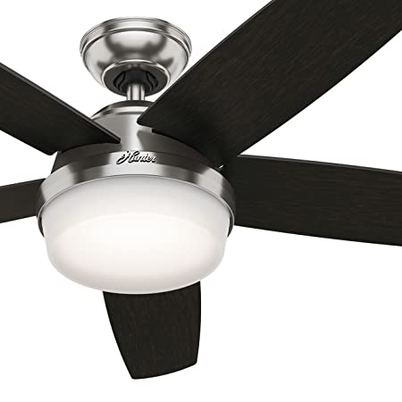 Hunter Fan 54in Contemporary Ceiling Fan in Brushed Nickel with Cased White LED Light Kit and Remote Renewed