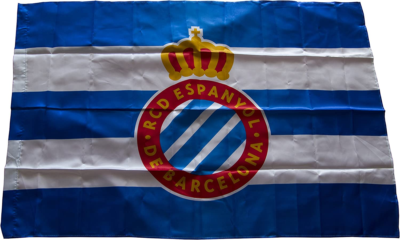 RCD Espanyol Badesp Bandera, Azul/Blanco, Talla Única