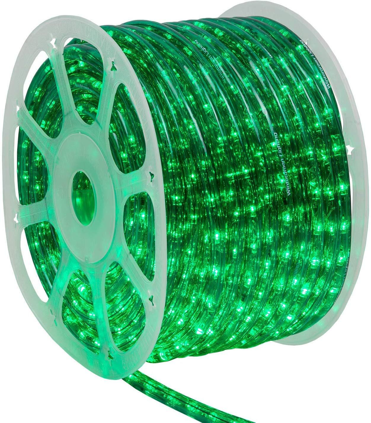 Wintergreen Lighting 150' Green LED Rope Light, LED Flexible Light Rope String Light Outdoor – LED Light Rope Bedroom Portable LED Light Rope, 120V, ½ Inch, 2-Wire (150 ft, Green)