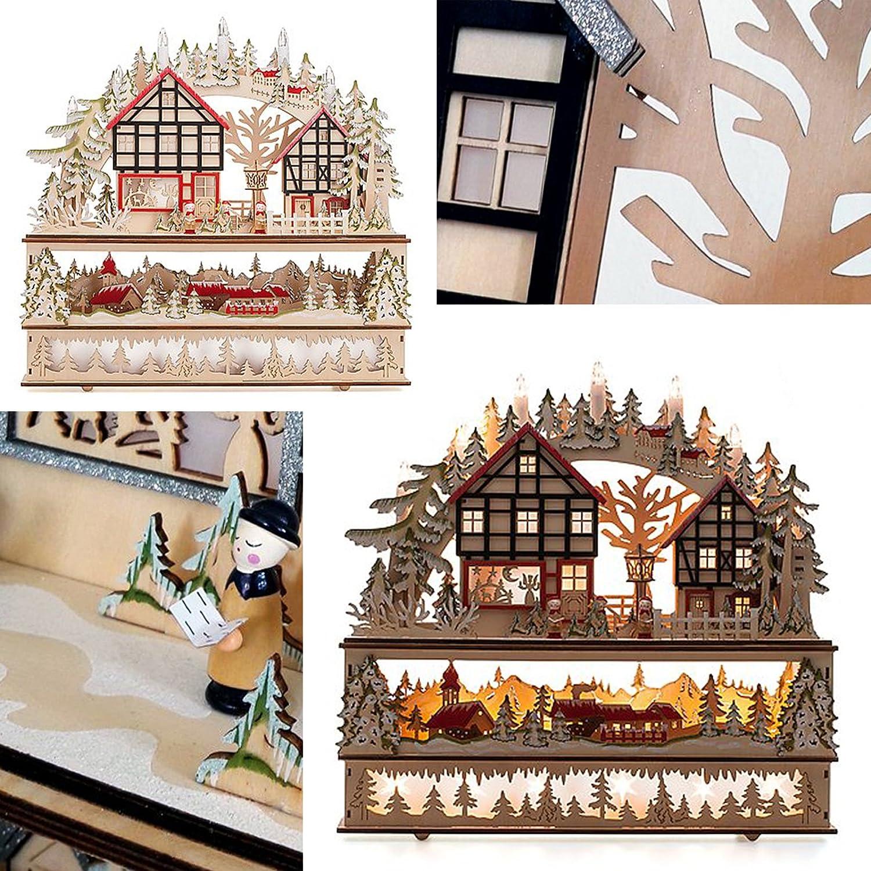 ChristmasDreams (Rot) Großer Weihnachtlicher 3D Schwibbogen über 3 Etagen mit 6 Stunden Timer, Handarbeit, Modell  Erzgebirge