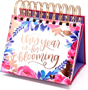 "bloom daily planners Undated Perpetual Desk Easel/Inspirational Standing Flip Calendar - (5.25"" x 5.5"")- Hand-Lettered"