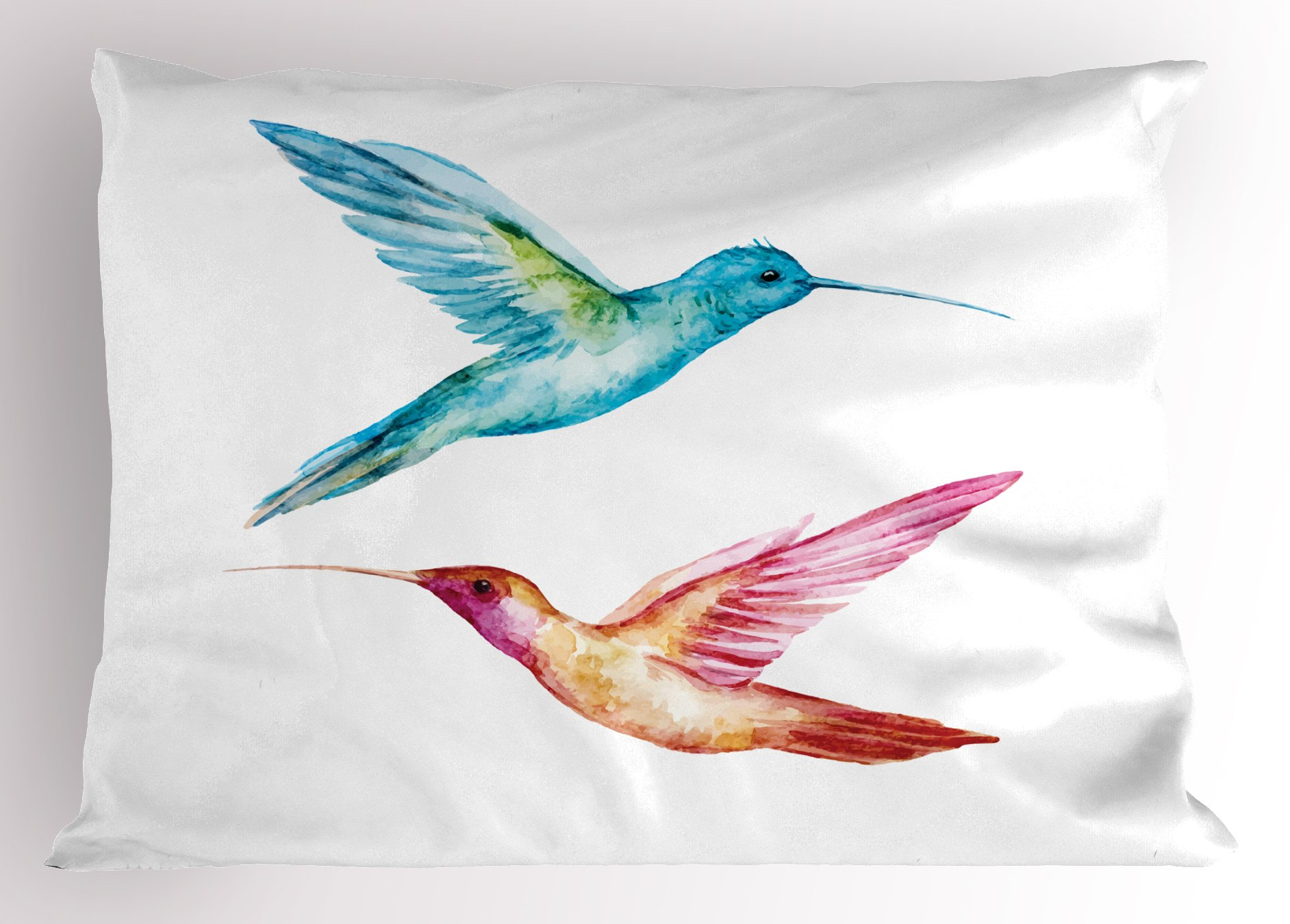 Ambesonne Watercolor Pillow Sham, Colorful Aquerelle Hummingbirds with Brush Marks Effect Avian Animal Design, Decorative Standard Queen Size Printed Pillowcase, 30 X 20 inches, Multicolor