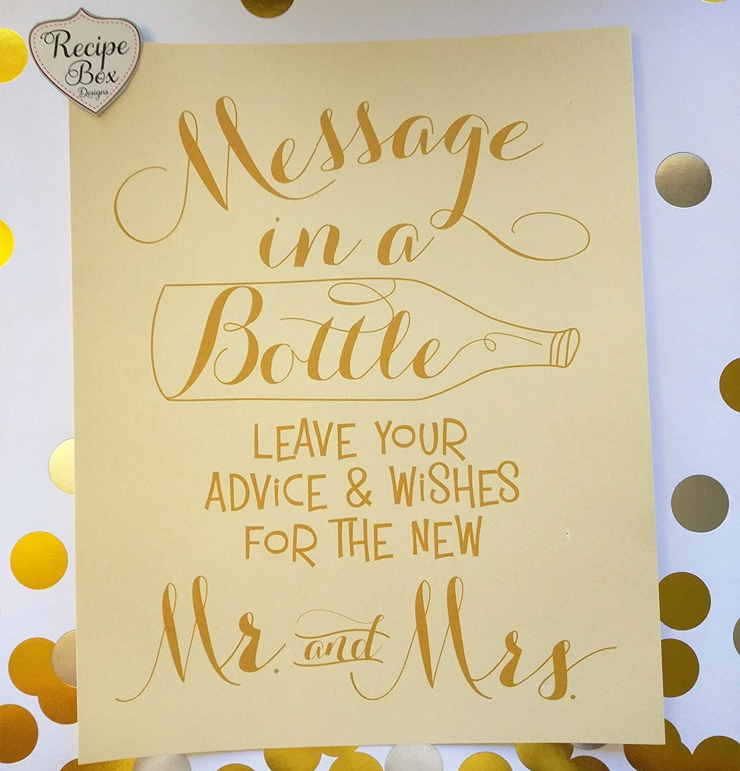 amazon com message in a bottle 8x10 sign only advice and wish sign