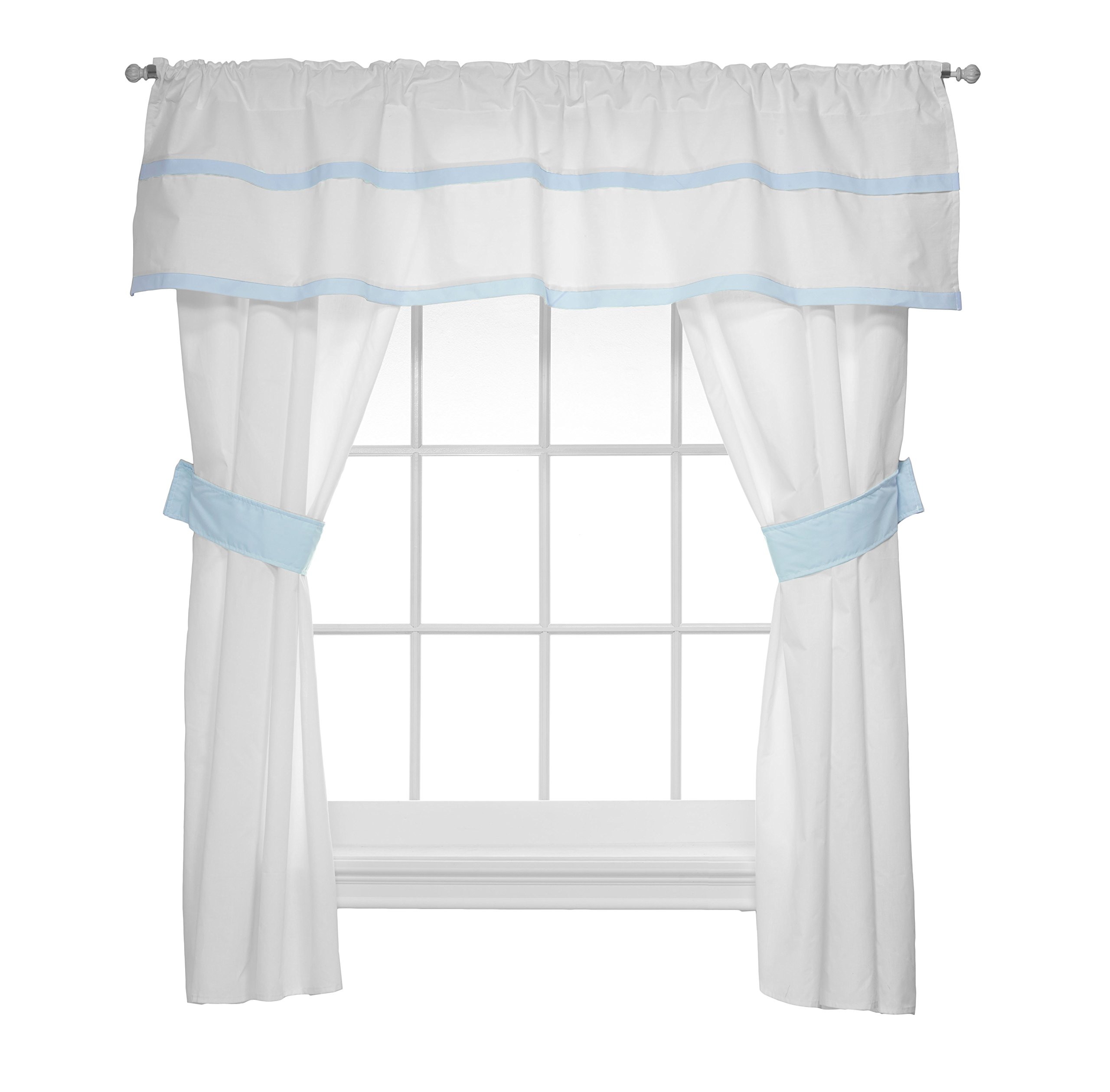Baby Doll Medallion 5 Piece Window Valance and Curtain Set, Blue by BabyDoll Bedding