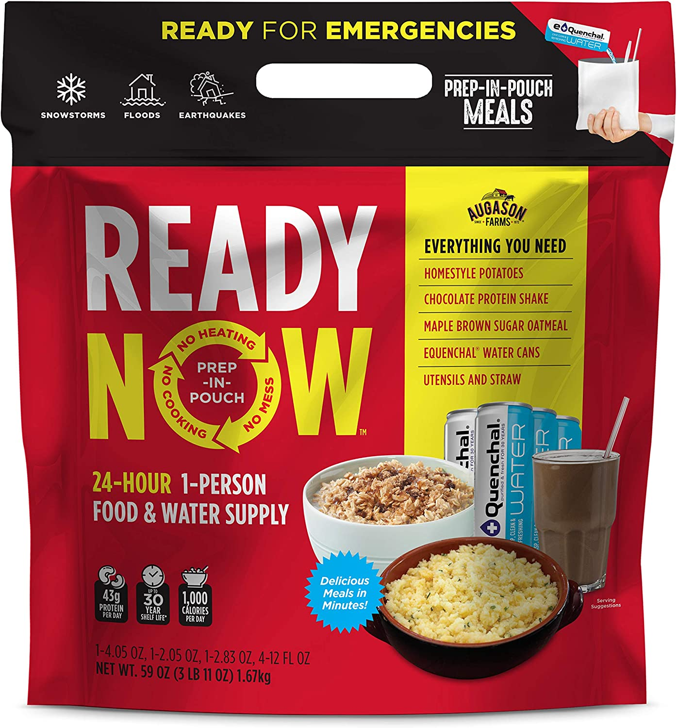 Augason Farms Ready Now Emergency Food Supply with Homestyle Potatoes | Includes Emergency Water and Utensils | Prep-in-Pouch Meals | Camping Mess Kit | 25-Year Shelf Life