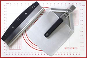 Checkered Chef Pizza Cutter, Pizza Peel and Dough Mat Set - Stainless Steel Rocker Blade Pizza Cutter With Stainless Steel Pizza Peel/Paddle And Silicone Pastry Mat
