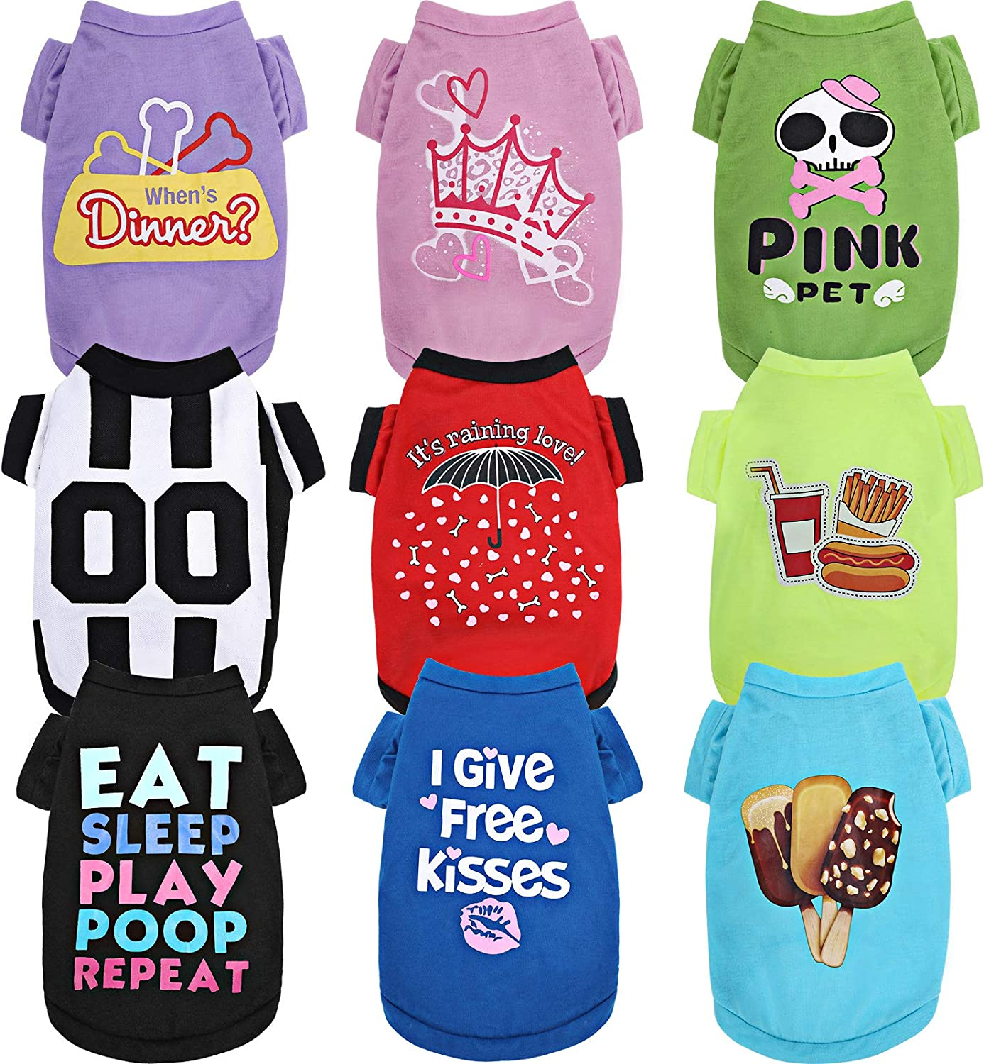9 Pieces Printed Pet Shirt Set Striped Dog Clothes Soft Breathable Pet T-Shirt Colorful Summer Puppy Sweatshirt Pullover Clothes for Small Medium Large Dogs Puppy Cats (S)