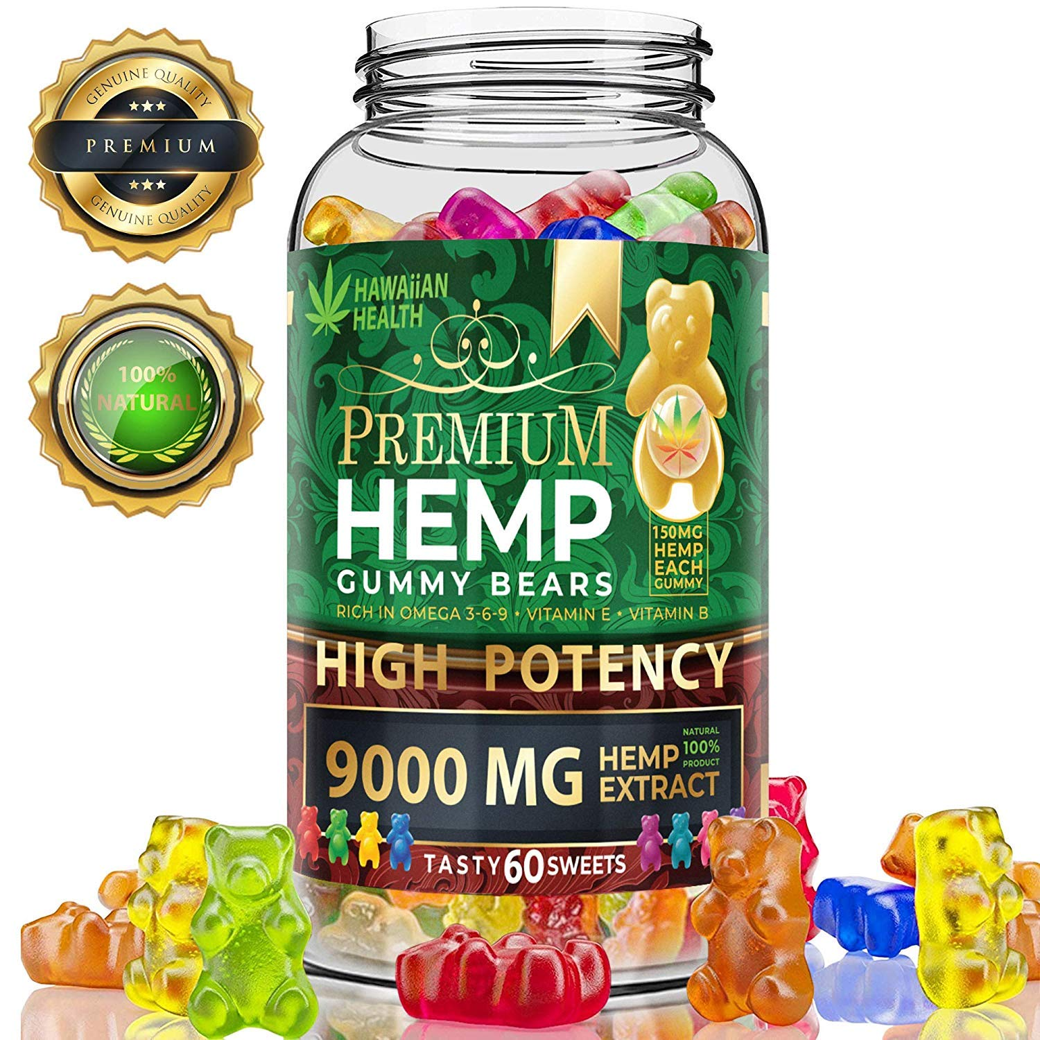 Hemp Gummies Premium 9000MG High Potency - 150 Per Fruity Gummy Bear with Hemp Oil | Natural Hemp Candy Supplements for Pain, Anxiety, Stress & Inflammation Relief | Promotes Sleep & Calm Mood