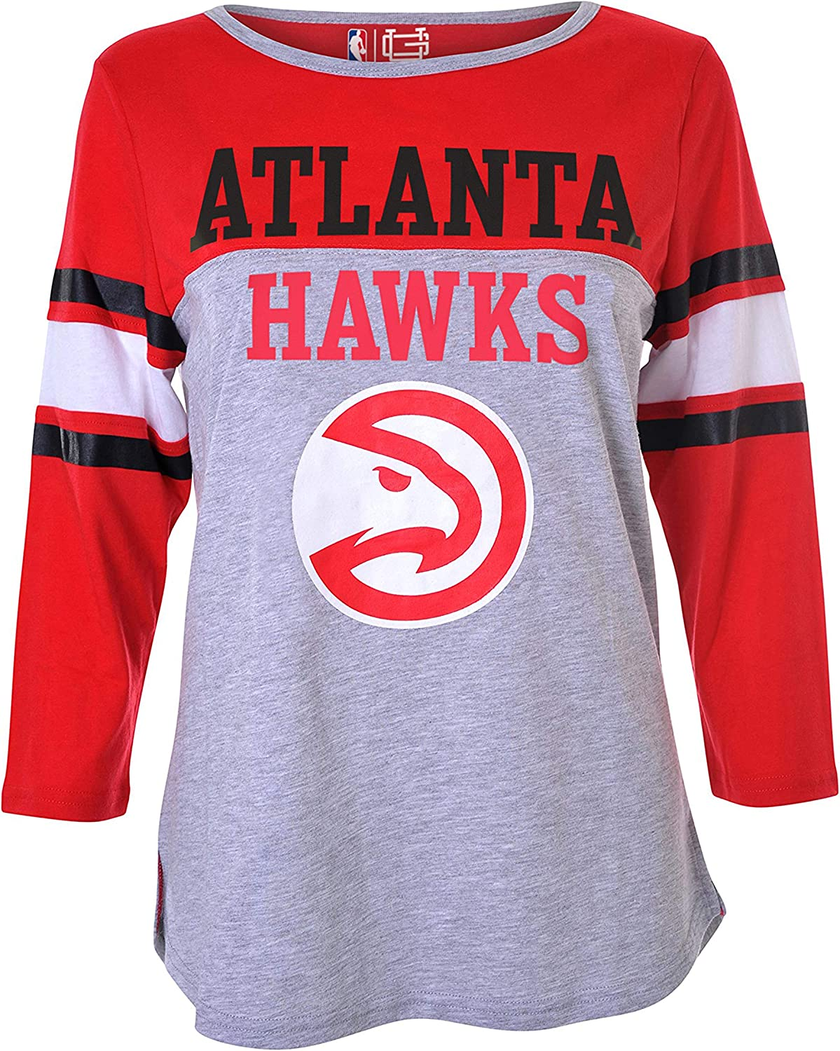 Ultra Game NBA Atlanta Hawks Womens T-Shirt Raglan Baseball 3//4 Long Sleeve Tee Shirt Small Heather Gray