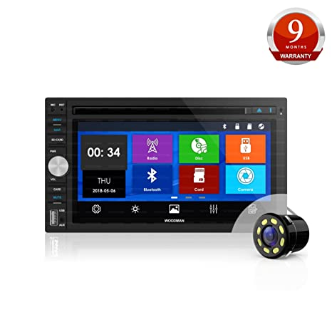Woodman Doubledin WM-8080 with FM/Bluetooth/USB (720 Pixels) Car Stereo (Double Din) with Car LED Rear View Camera Car Stereos at amazon