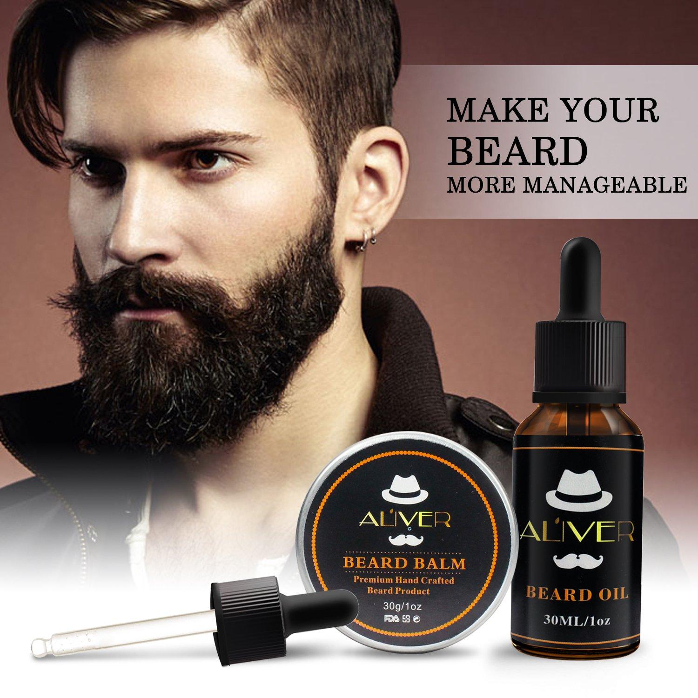 Kit de barba para el cuidado de los hombres, cepillo de cerdas de jabalí, peine para barba de madera, aceite de barba, bigote, mantequilla de bálsamo para ...