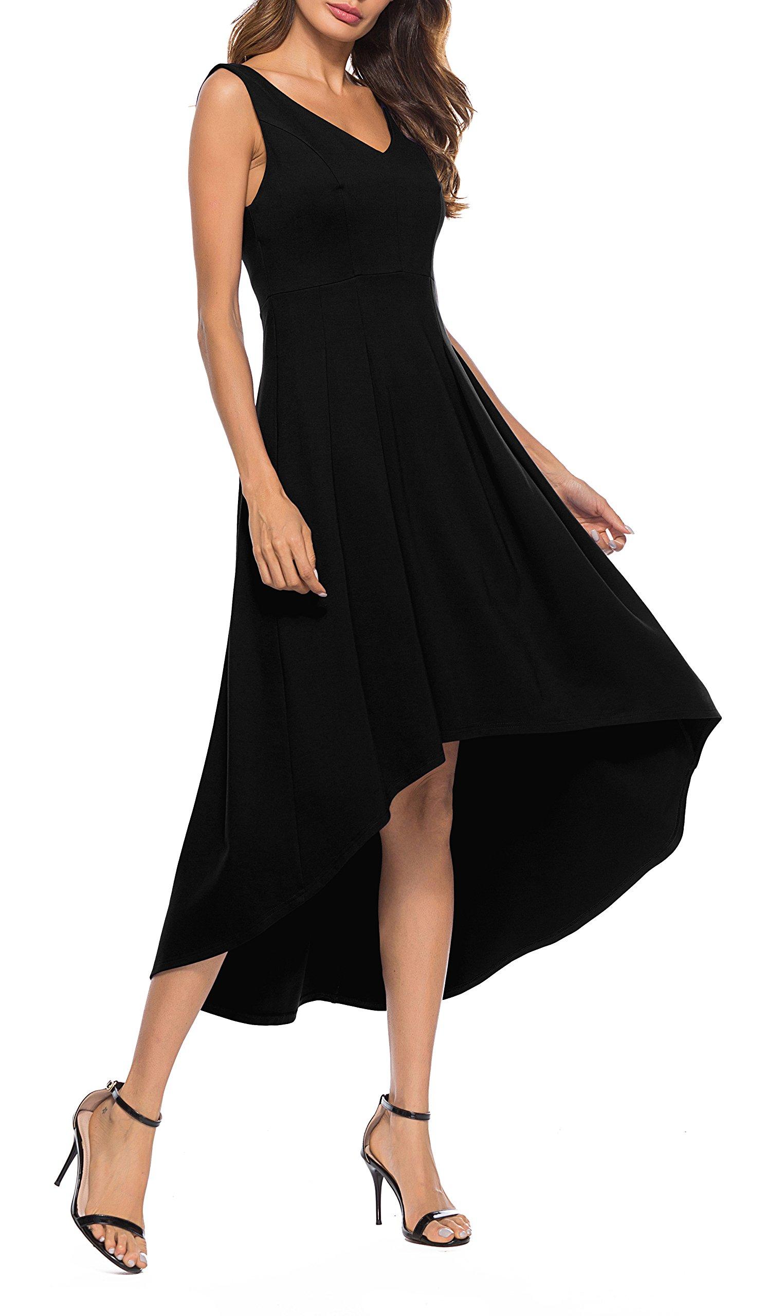 Sarin Mathews Womens V Neck High Low Cocktail Party Dress Sleeveless Casual Long Maxi Dresses Black L