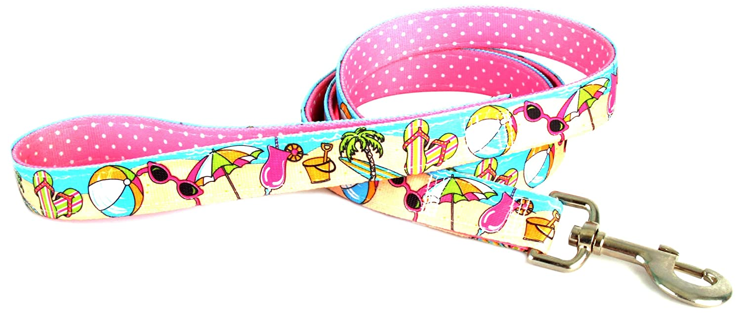 Yellow Dog Design Uptown Lead, 1-Inch, Beach Party on Pink Polka, Small Dots