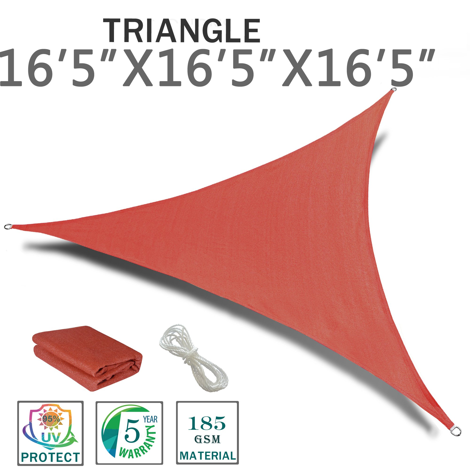 SUNNY GUARD 16'5'' x 16'5'' x 16'5'' Terra Triangle Sun Shade Sail UV Block for Outdoor Patio Garden