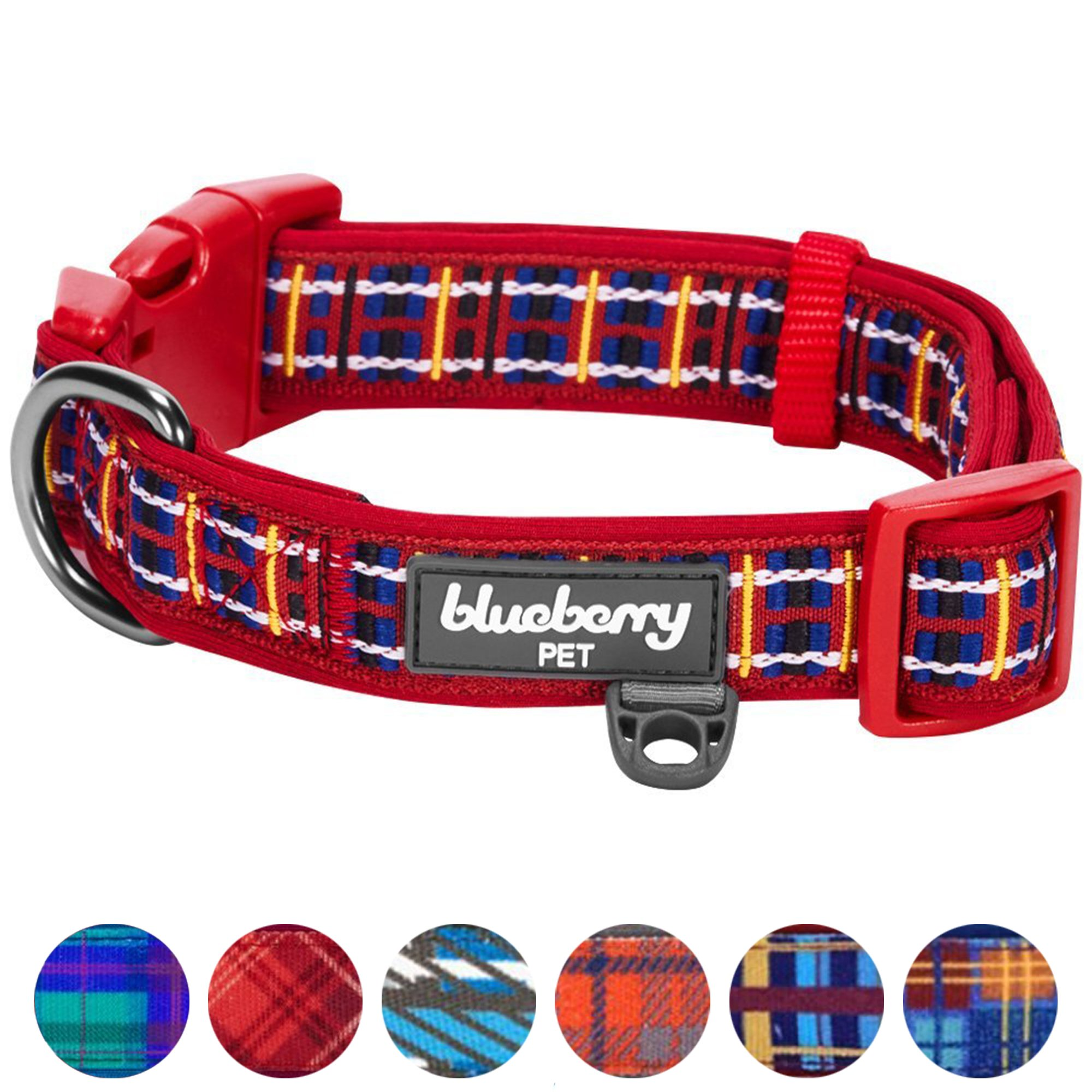 Blueberry Pet 7 Patterns Soft & Comfy Scottish Tartan Inspired Classic Plaid Check Pattern Padded Dog Collar, Medium, Neck 14.5''-20'', Adjustable Collars for Dogs
