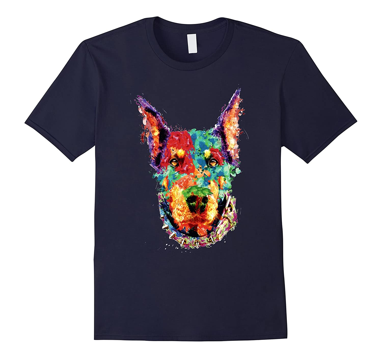 Colorful Doberman lover t shirt-Art
