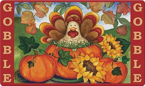 Toland Home Garden Autumn Turkey 18 x 30 Inch Decorative Thanksgiving Floor Mat Fall Gobble Doormat 800279