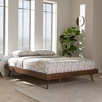 Amazon Com Baxton Studio Mid Century Modern Bed Frame In Walnut