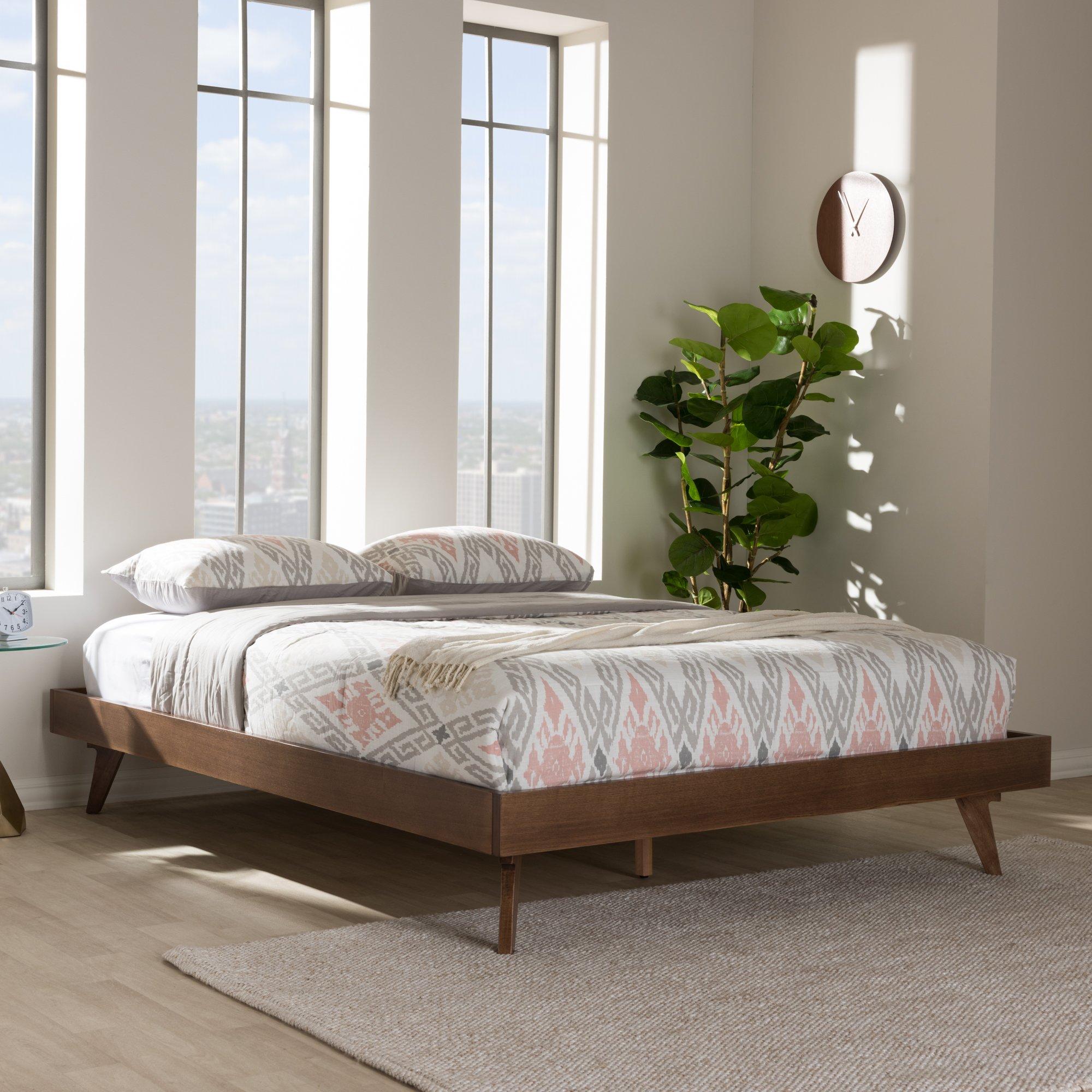 Baxton Studio Mid Century Modern Bed Frame in Walnut Finish (Queen: 83.07 in. L x 62.99 in. W x 13.19 in. H) by Baxton Studio