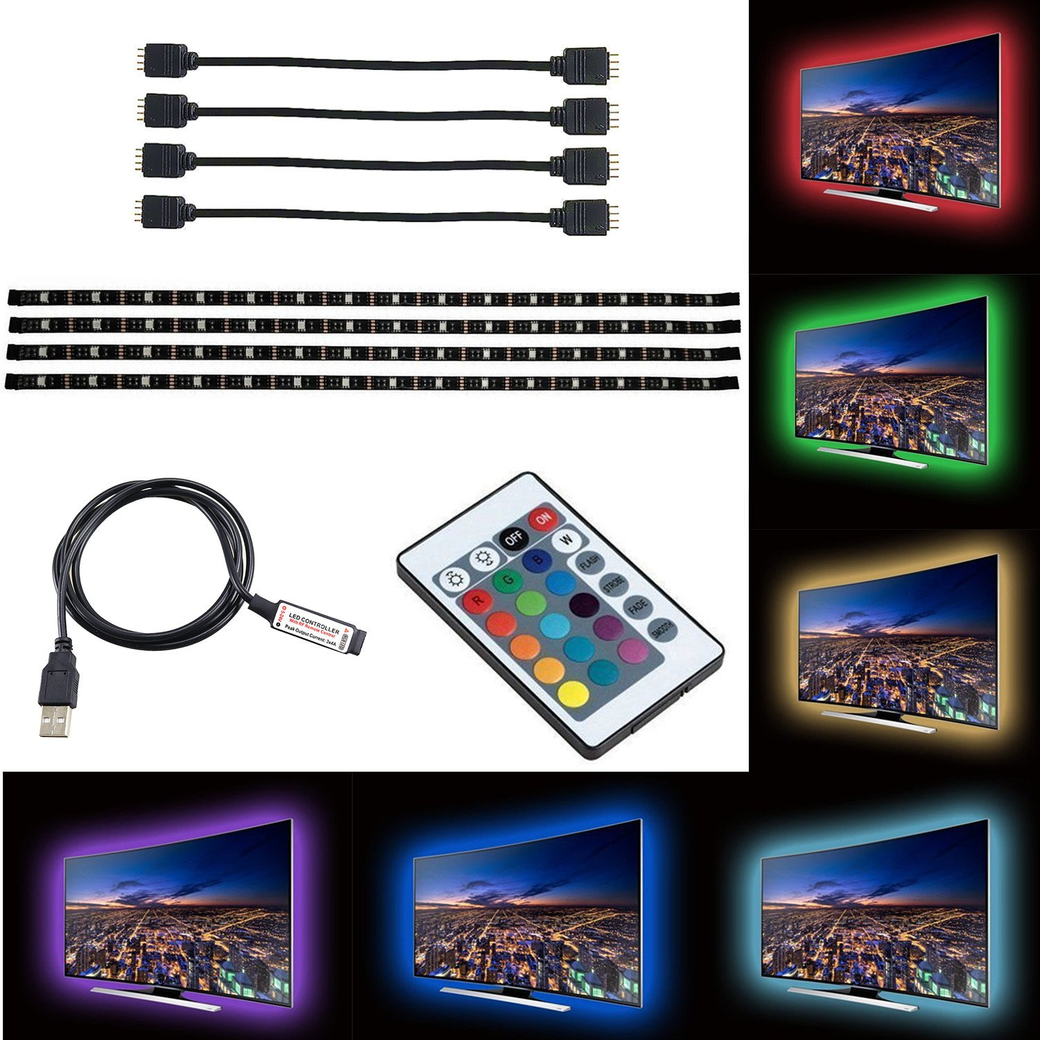 ZRUI Led Strip Lights for 40-60 inches TV Backdrop Lighting,USB LED TV Backlight Kit with Remote, 16 Color 5050 Leds Bias Lighting for HDTV PC Monitor Home Theater Decoration (1 for 4pcs set)