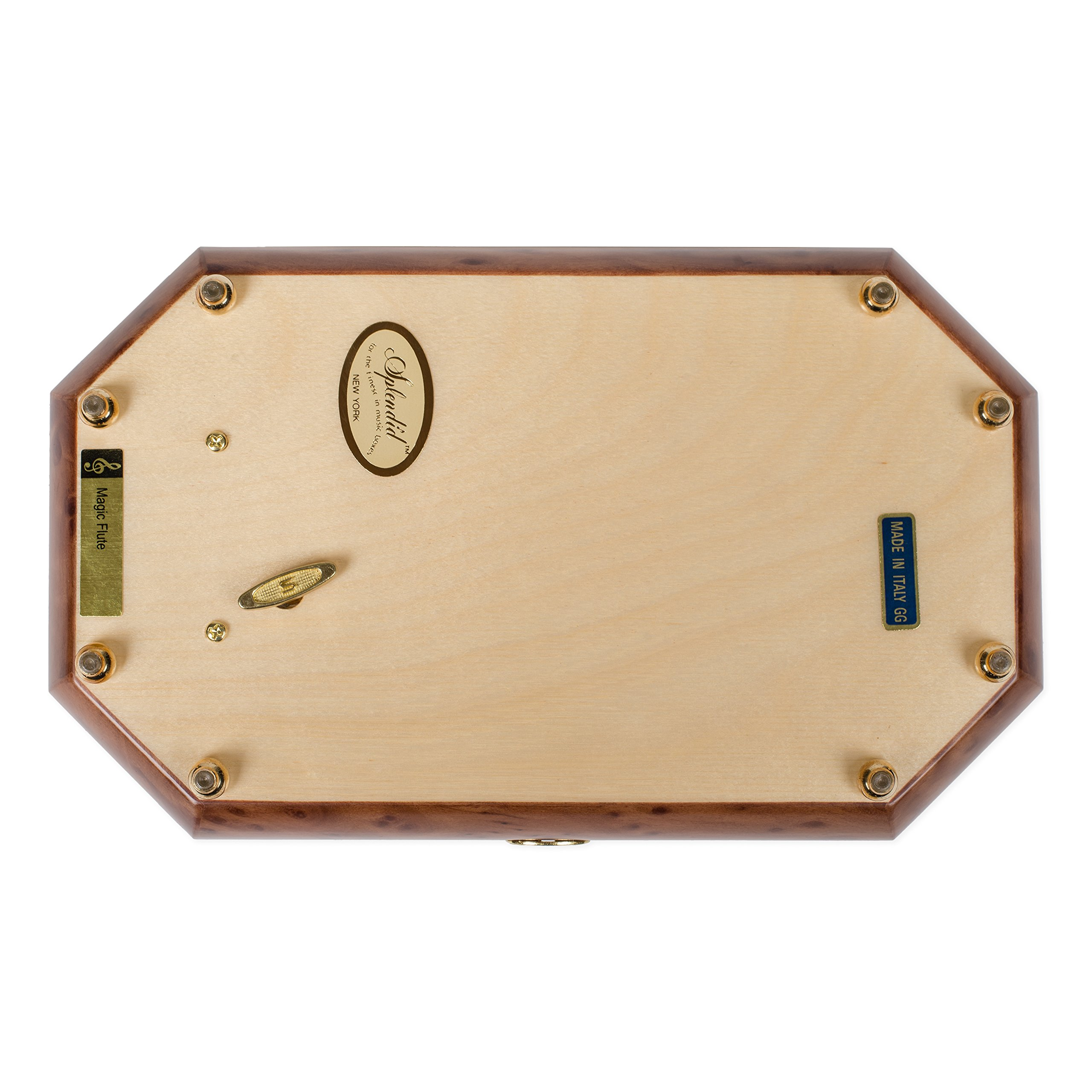 Two Wood Italian Hand Crafted Inlay Trunk Style Music Box Plays Magic Flute by Splendid Music Box Co. (Image #7)