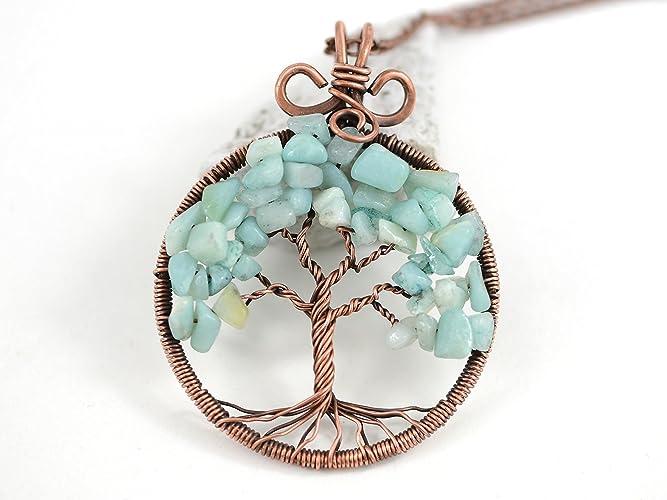 Amazon.com: Artisan HANDMADE Light Blue Amazonite Tree-Of-Life ...