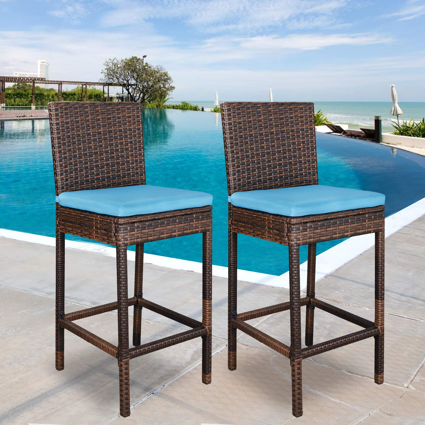 SUPER DEAL Outdoor Upgraded All Weather Wicker Bar Stools with Cushions, Espresso Blue (Set of 2) by SUPER DEAL
