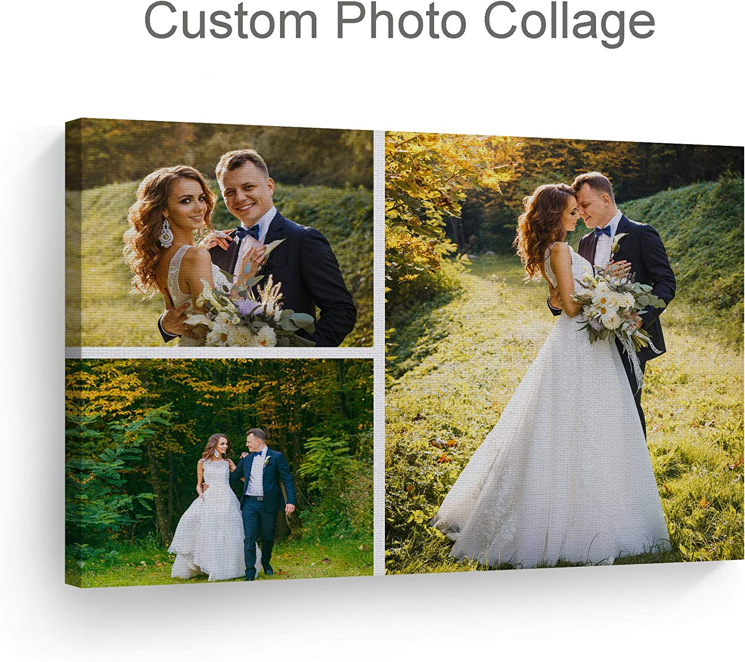 Smile Art Design Custom Canvas Print with Your Photos Personalized Photo 3 Images Collage Picture Custom Photo Prints Personalized Gifts for Men Wedding Gift Bacheloratte Decorations - 8x12 inches