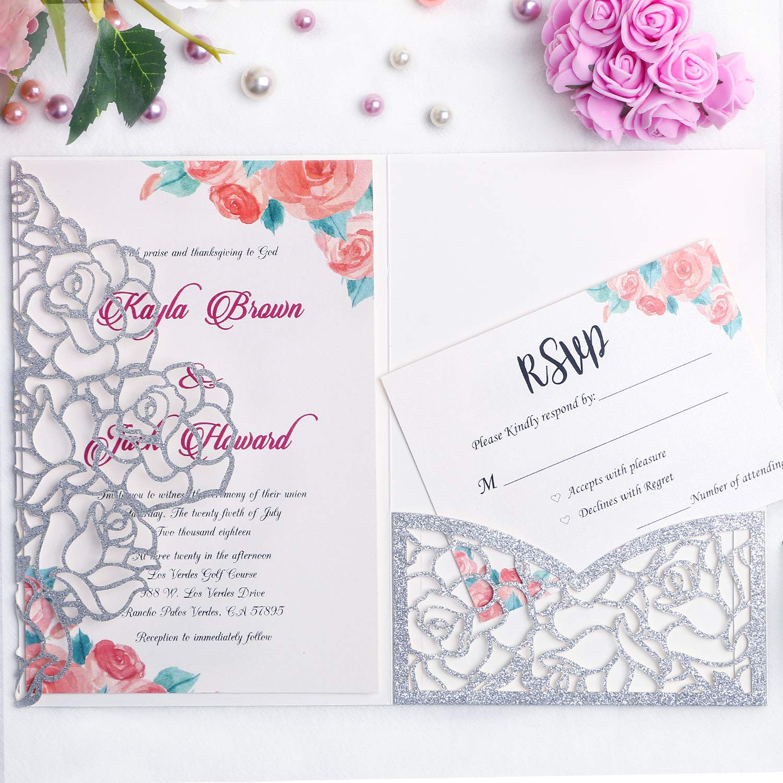 FEIYI 20 PCS 3 Folds Laser Cut Rose Shape Wedding Invitations Cards For Wedding Bridal Shower Engagement Birthday Graduation Invitation Cards (Sliver ...