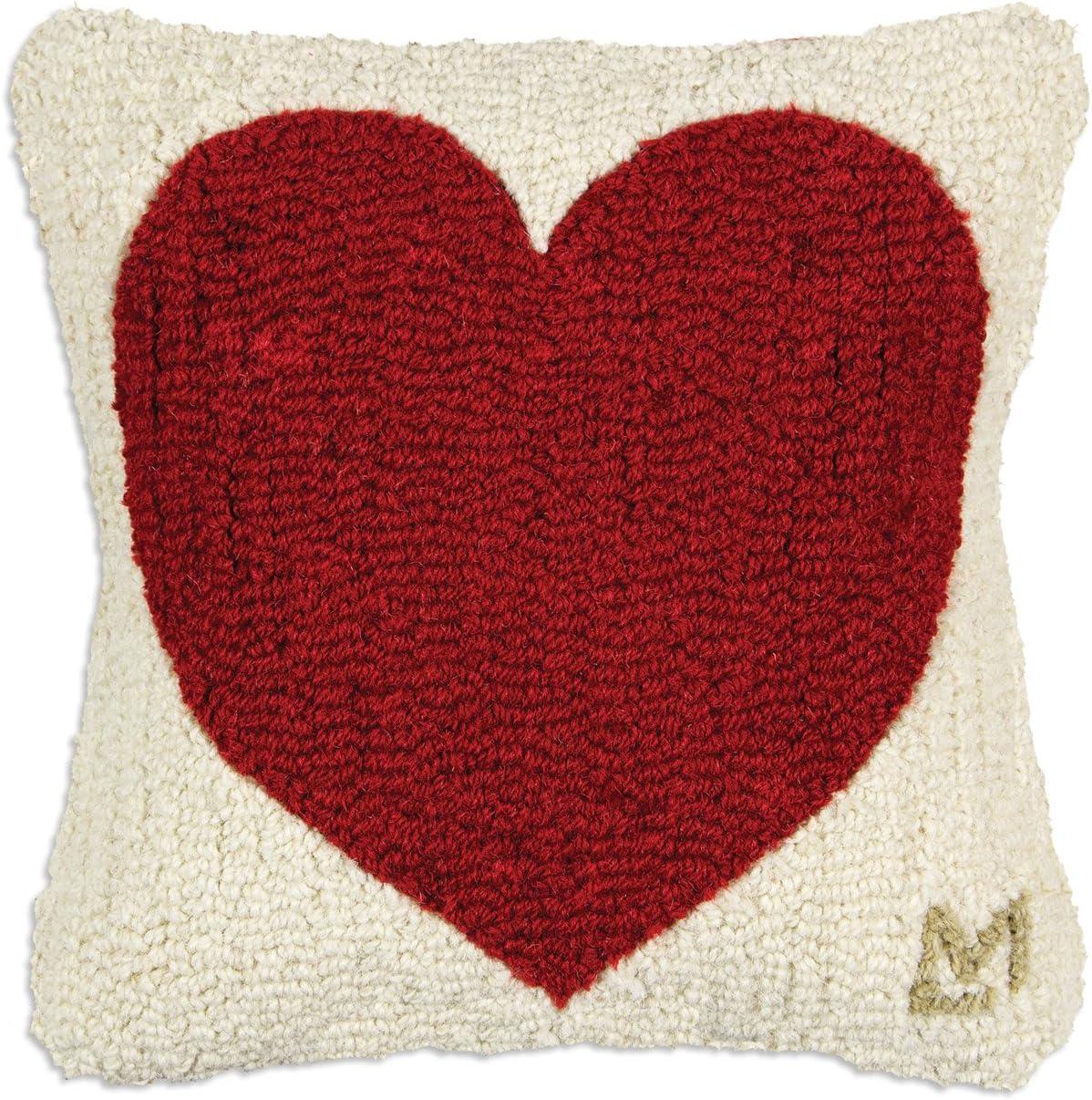 Chandler 4 Corners Artist-Designed Red Heart Hand-Hooked Wool Decorative Throw Pillow 14 x 14
