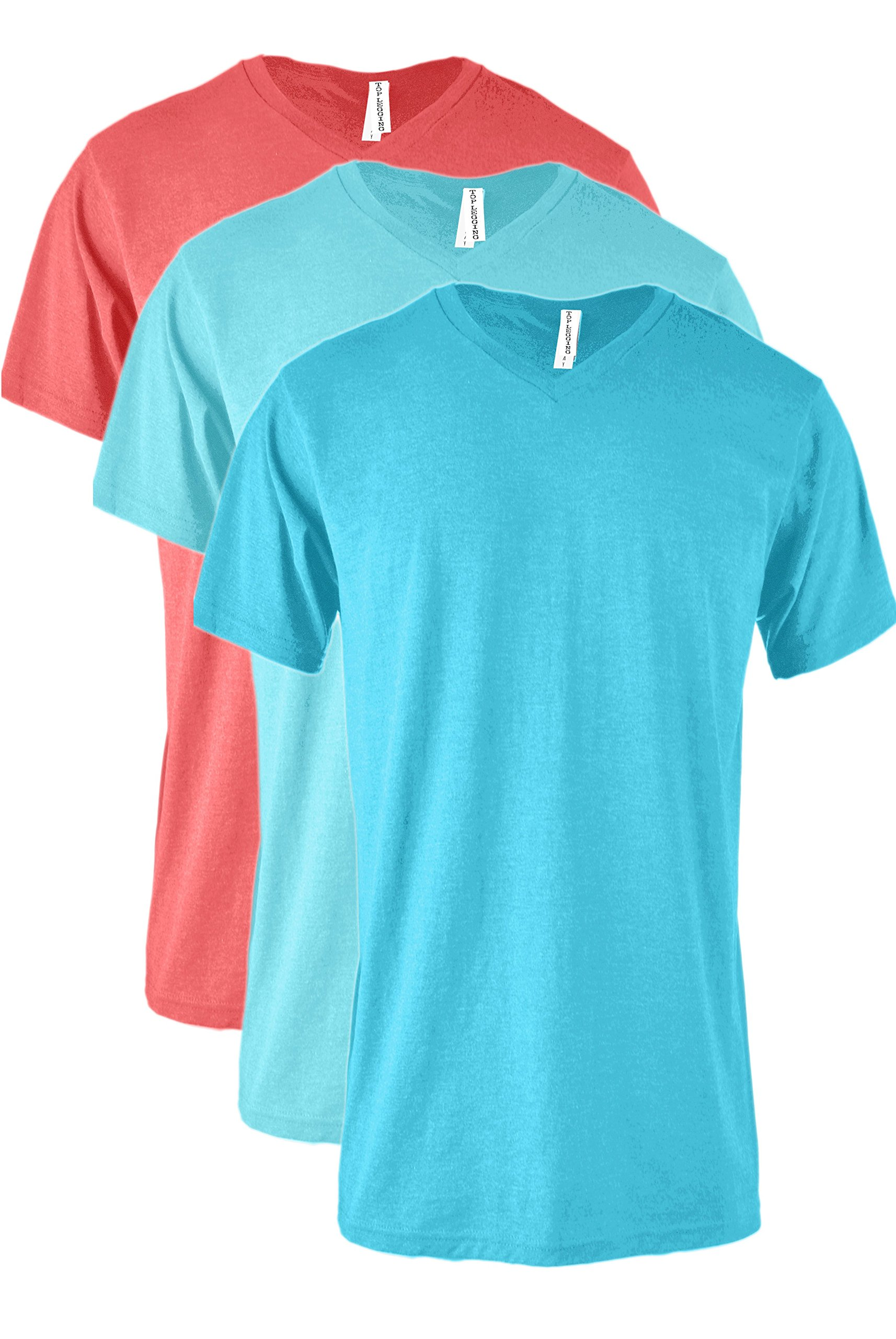 379169b9d3e3 Galleon - TOP LEGGING TL Men Casual Basic Short Sleeve Tri-Blend/100% Cotton  V-Neck T Shirt RVNKSET3_Turq_COR_PACBLUE 2XL