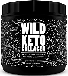 Wild Keto Collagen Powder - Grass Fed Hydrolyzed Collagen Peptides for Healthy Hair Skin Nails and Joints - Flavorless Keto Powder & Non GMO Paleo Collagen Powder with Essential Amino Acids 10.6 oz