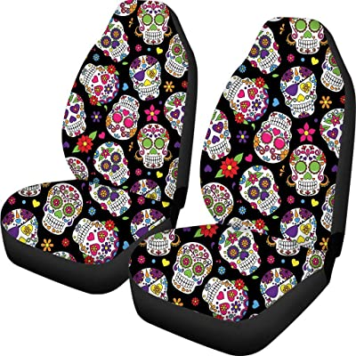 Simasoo Car Seat Cover Sugar Colorful Skull Print Comfortable Seats Only Full Set of 2,Lovely Universal Auto Front Seats for Most Car, SUV Sedan & Truck: Automotive