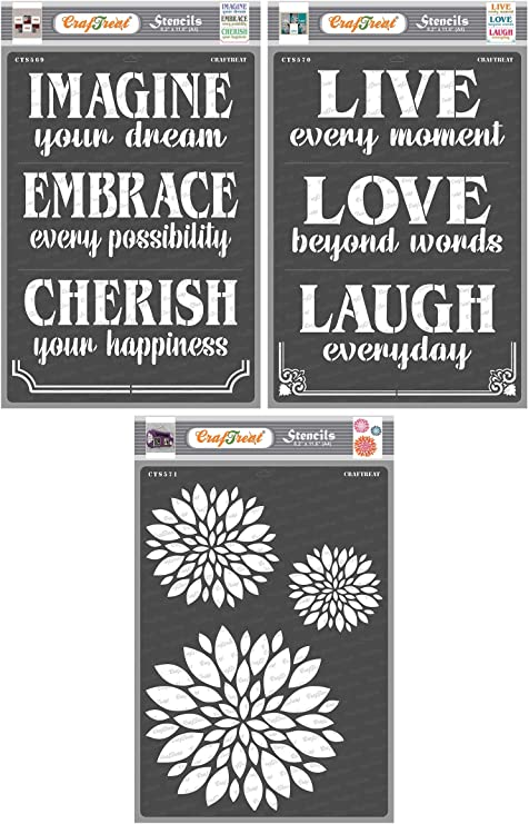 DIY Crafts- A4 Canvas Furniture Reusable Stencils Templates for Home Decor Crafting Painting on Wood Scrapbooking Mum Flower Fabric CrafTreat Stencil Wall Card Making