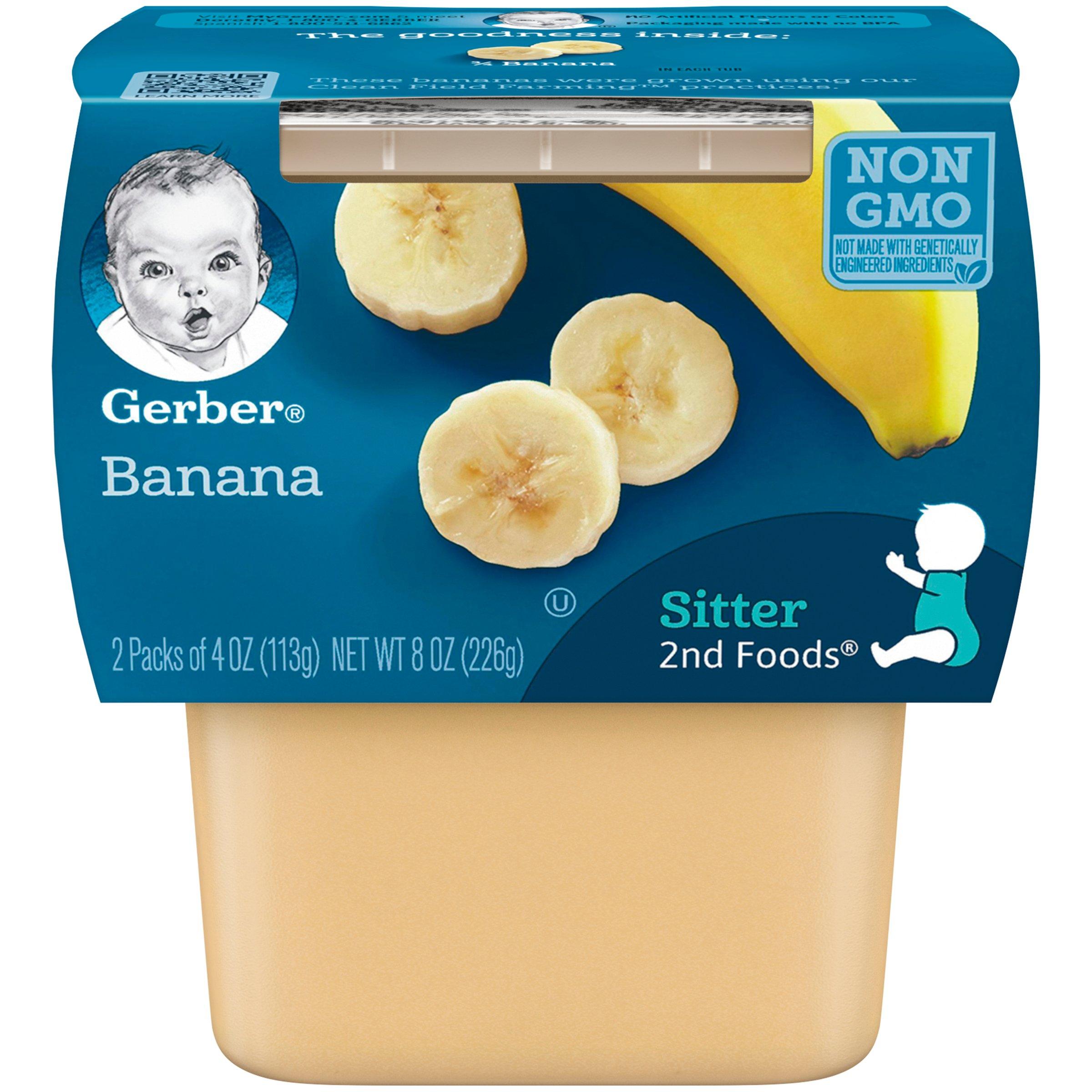 Gerber 2nd Foods Bananas, 4 oz Tubs, 2 Count (Pack of 8)